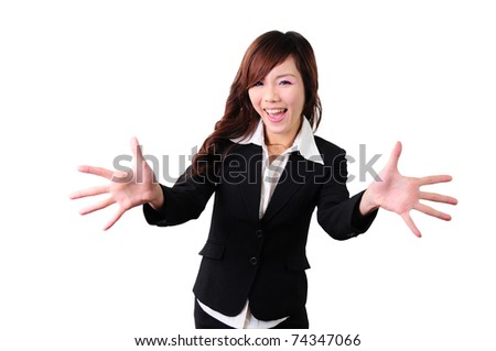 Portrait of excited business woman pointing with both hands towards the camera on white background