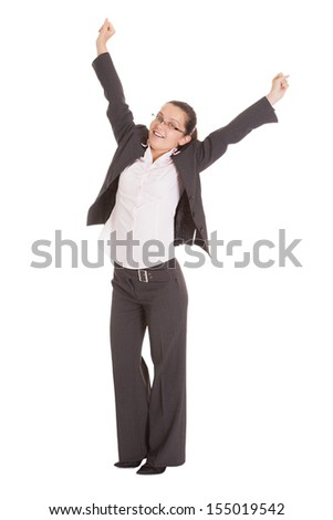Portrait Of Excited Businesswoman Isolated Over White Background