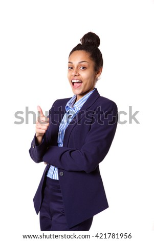 Portrait of excited young african businesswoman showing thumbs up sign on white background - stock photo