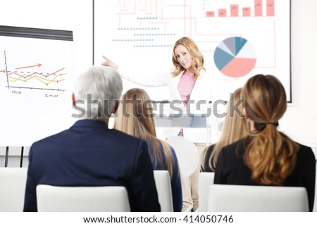 Portrait of executive financial businesswoman presenting her investment advise to audience at board room. - stock photo