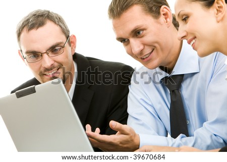 Portrait of executive specialists working with laptop - stock photo