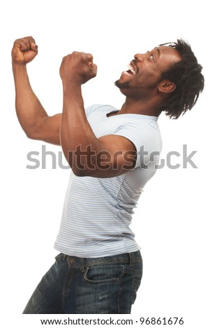 Portrait of expressive african american man celebrating success, isolated on white background - stock photo