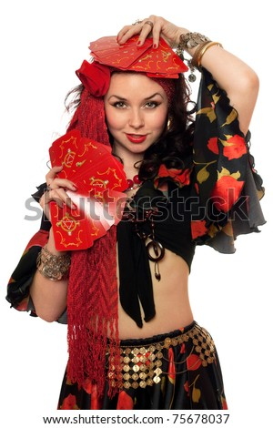 Portrait of expressive gypsy woman with cards. Isolated on white - stock photo