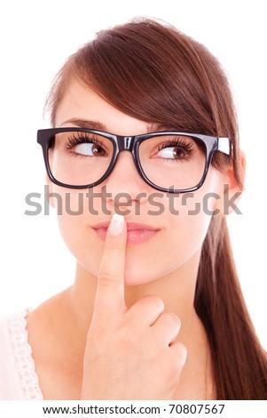 Portrait of eyewear young female girl - stock photo