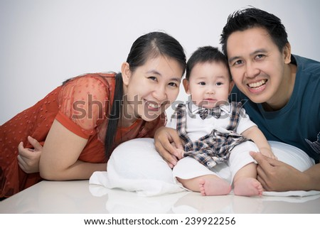 Portrait of family. Concept of happy family relations and carefree leisure time - stock photo