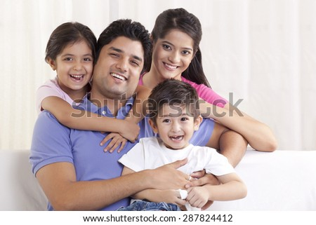 Portrait of family smiling