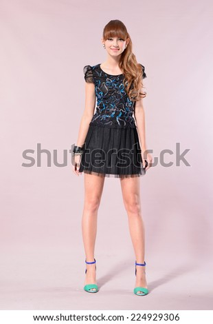 Portrait of fashion casual girl standing model-full body