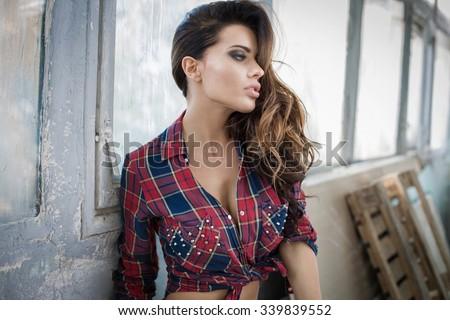 Portrait of fashion unusual woman - stock photo