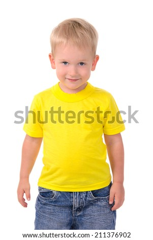 Portrait of fashionable little boy isolated on white background