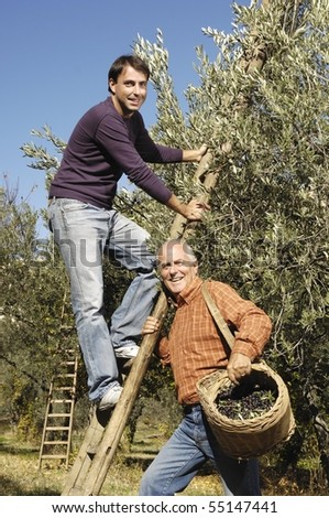Portrait of father and son during harvest - stock photo