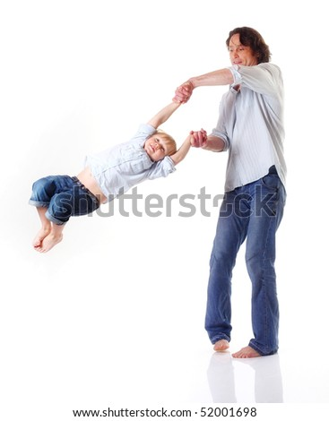 portrait of father playing with son isolated on white
