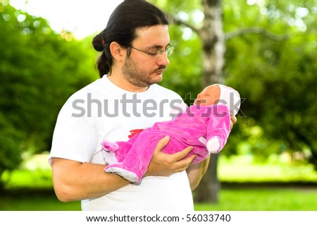 portrait of father with child - stock photo