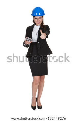 Portrait Of Female Architect Holding Blueprints One White Background