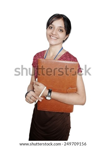 Portrait of female professional holding file folder in hand.