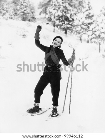 Portrait of female snowshoer - stock photo