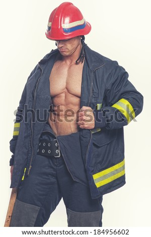 Portrait of fireman on duty - stock photo