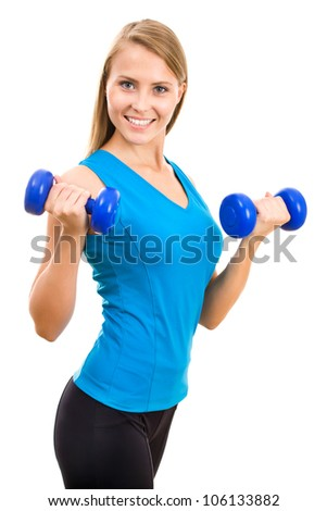 Portrait of fitness woman working out with free weights - stock photo