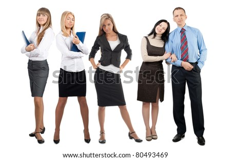 Portrait of five confident businesspeople looking at camera. Isolated on white background