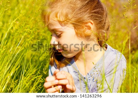 Portrait of five years old caucasian blond child girl seating on a meadow surrounded by green grass and sunset light - stock photo
