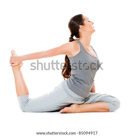 portrait of flexibility woman in grey clothes. isolated on white background - stock photo