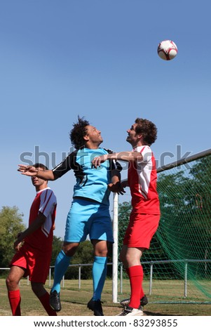Portrait of football match - stock photo