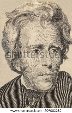 Portrait of former U.S. president  Andrew Jackson in front of the twenty dollar banknote