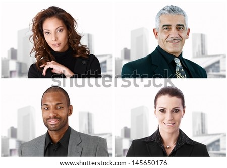 Portrait of four businesspeople over the same background. Image mosaic. - stock photo