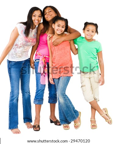 Portrait of four friends standing together isolated over white - stock photo