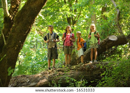 Portrait of four kids standing on log in woods - stock photo