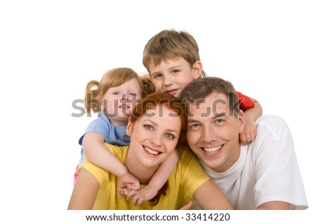 Portrait of four people together on a white background - stock photo