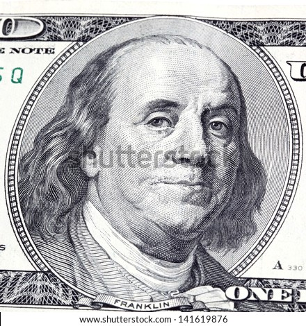 Portrait of Franklin in front of the dollar bill