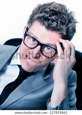 Portrait of  freak out of funny manager at the office - stock photo