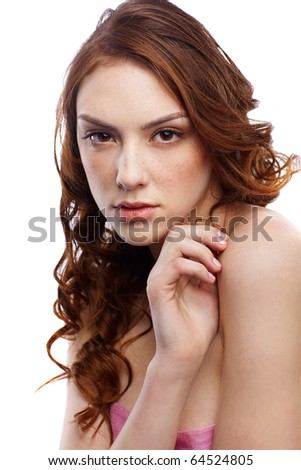 portrait of freckled dark red-haired girl - stock photo