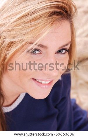 Portrait of Fresh and Beautiful woman on bed