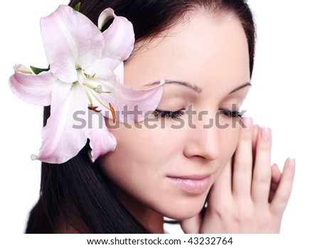 Portrait of Fresh and Beautiful woman with flower isolated on white - stock photo