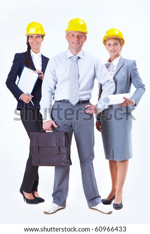Portrait of friendly business team posing in front of camera