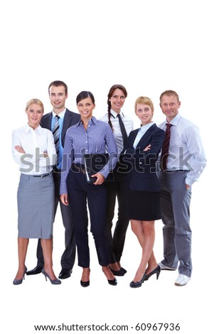 Portrait of friendly business team standing in isolation - stock photo