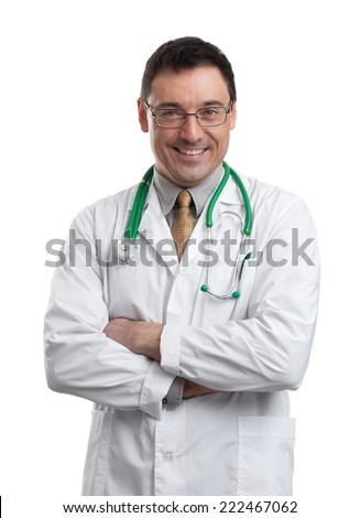 Portrait of friendly male doctor smiling. Isolated on white - stock photo