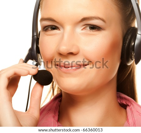 Portrait of friendly secretary/telephone operator wearing headset isolated over white background - stock photo