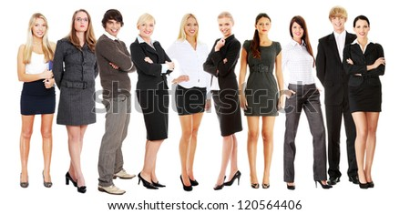 Portrait of full length successful young businesspeople smiling to the camera, isolated on white.