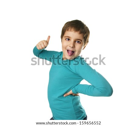 Portrait of funny grimacing little boy showing big finger isolated on white background - stock photo