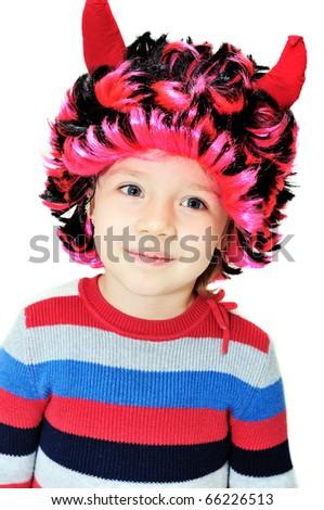 Portrait of funny little girl wearing devil's horns - stock photo