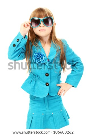 Portrait of funny little girl with sunglasses isolated on white