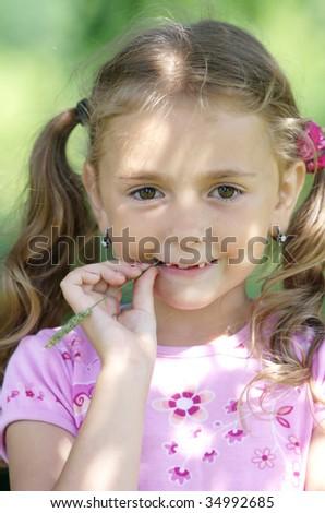 Portrait of funny lovely little girl. - stock photo