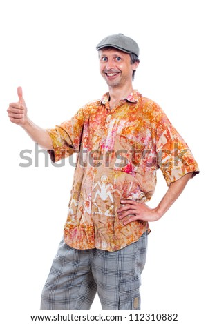 Portrait of funny smiling man thumb up, isolated on white background. - stock photo