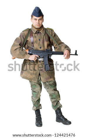 Portrait of german soldier with submachine gun isolated on white background