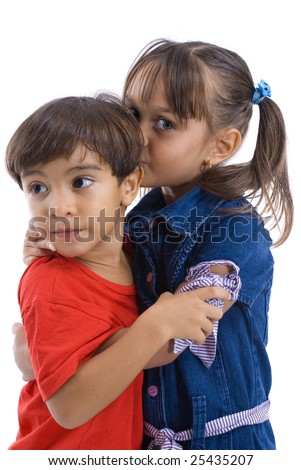 Portrait of Girl hugging and kissing a boy . - stock photo