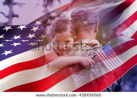 Portrait of girl hugging army officer father against waving flag of america