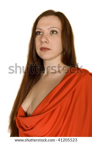 portrait of girl in red dress - stock photo