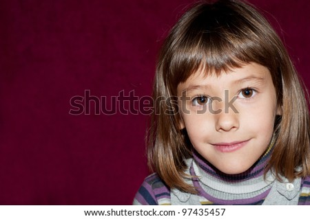 portrait of girl on red background